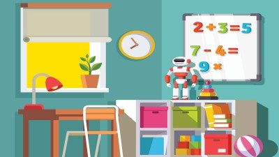 An illustration of the room of a child with ADHD, filled with educational toys