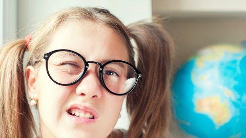 Girl with ADHD makes a funny face