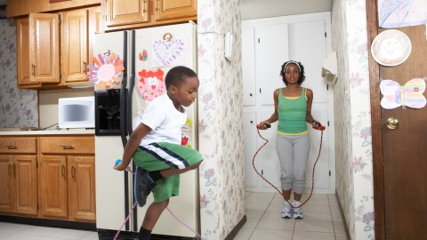 Taking breaks for fun activities like jump roping can lower homework stress and improve focus.