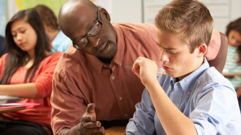 There are many different types of learning disabilities, such as the one this student is suffering from while his teacher tries to explain something.