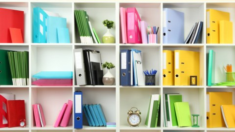 An organized bookshelf to help an adult with ADHD feel less overwhelmed