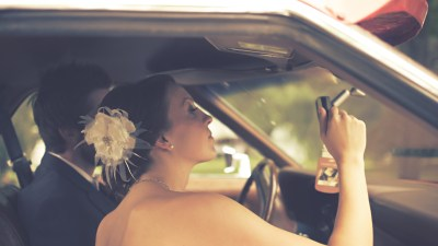Marriage with ADD. Woman Looks at Her Reflection