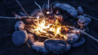 Close up view of campfire and kids roasting marshmallows at an ADHD Summer Camp