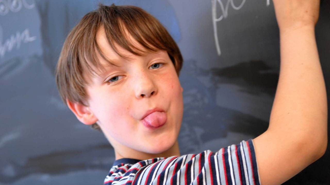 Boy with ADHD is silly at school