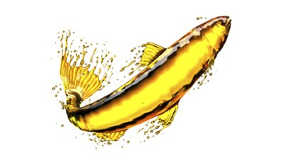 Illustration of fish oil in the shape of a fish jumping out of water