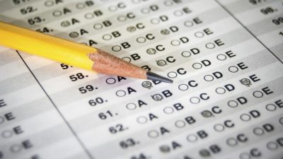 Pencil on standardized multiple choice test belonging to ADHD student using the extended test time accommodation.