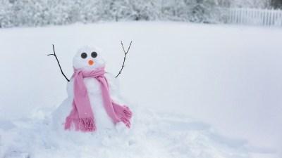 A snowman built for holiday stress management