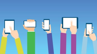 An illustration of multiple hands holding multiple phones, a concept for electronics time