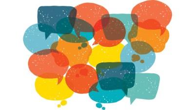 Conversation bubbles illustration symbolizes talking about social challenges.