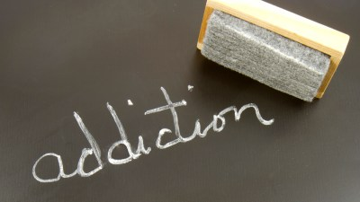 Chalkboard with the word ADDICTION written with an eraser