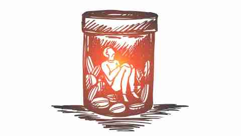 An illustration of a person inside a pill bottle respresents ADHD and addiction.