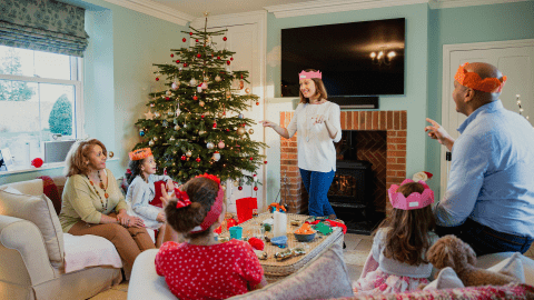 family with ADHD children gathering during the holidays on Christmas