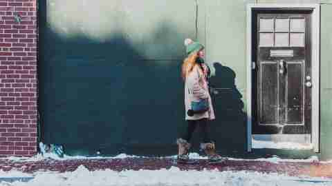 woman with adhd walking winter