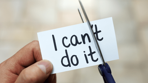 "go from ""I can't"" to ""I can"" and get things done with positive self-talk"