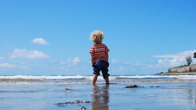 Boy with ADHD at beach