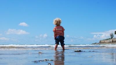 Boy with ADHD at beach