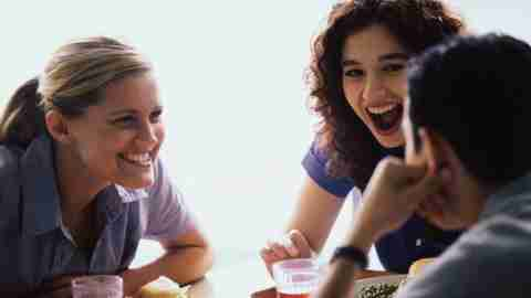 an adult with ADHD starts a great, lively conversation with adult friends