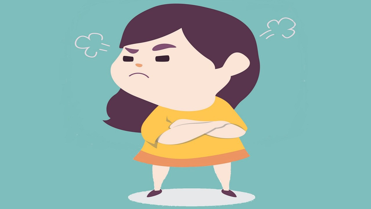 Angry little cute girl with ADHD blowing steam from ears, vector cartoon illustration.