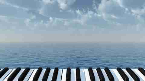 Piano keys by the water. Classical piano is often used in music therapy for children with ADHD.