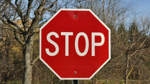 A stop sign, a metaphor for knowing when to stop playing Minecraft