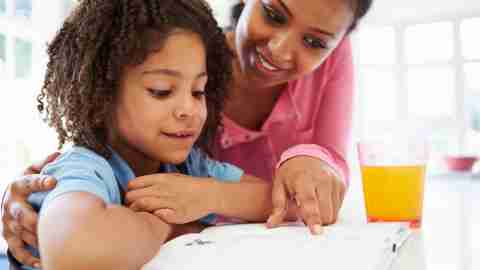 Mother and daughter with ADHD working on writing strategies together after school