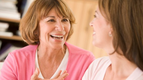 A woman talking to a friend about being easily distracted