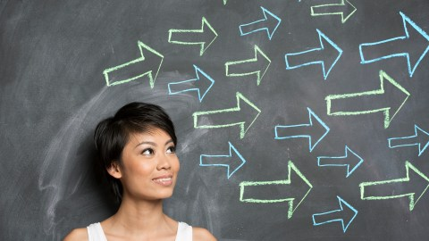 A woman with ADHD looks towards the future with arrows pointing forward