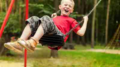 ADHD medication doesn't mean you can't still do the things you love, such as this boy playing on the swings.
