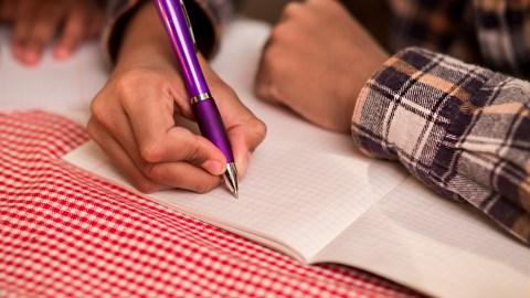A child writes ways to avoid having an ADHD tantrum.