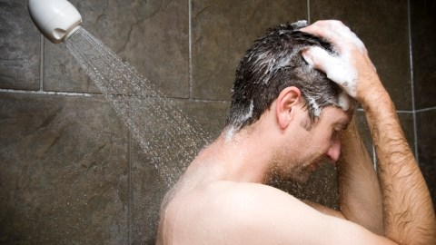 Man showering. How do you know you have ADHD? You forget the steps.