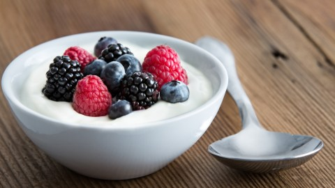 Yogurt with fruit in a bowl is an example of ADHD recipes that are high in protein