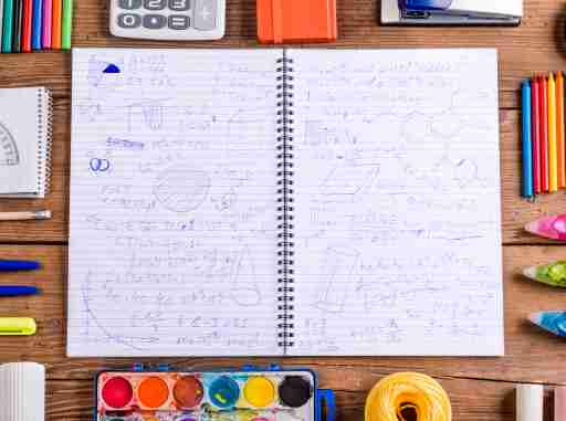 A notebook full of doodles, a fidget a child with ADHD uses to stay focused