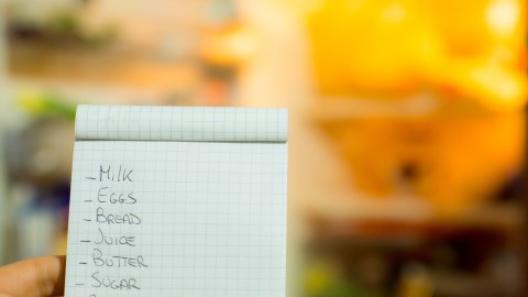 A grocery list, used to figure out how to save money