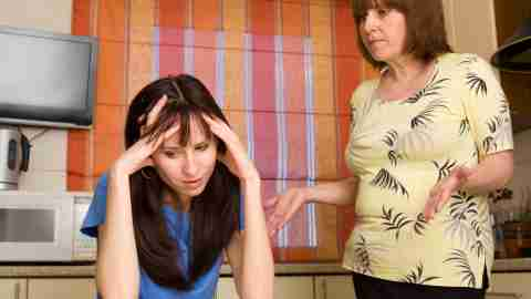 Mom with ADHD being scolded by her mother
