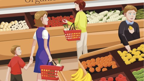 People shopping for organic foods. For some people with adhd, diet and nutrition are key components of managing their symptoms.