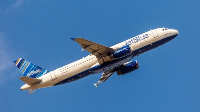 A JetBlue airplane, founded by an entrepreneur with ADHD