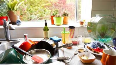 Kitchen organizing tips for cluttered kitchen sink and counter in an ADHD house
