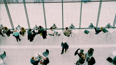 Networks of people sitting at table with ADHD