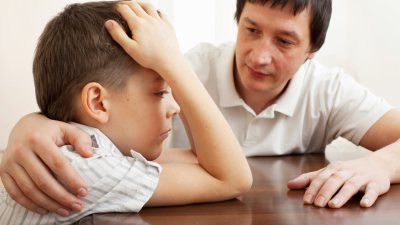 A father discussing ADHD with his child, shortly after he was diagnosed