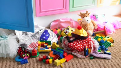 Room of child with ADHD filled with toys and clutter
