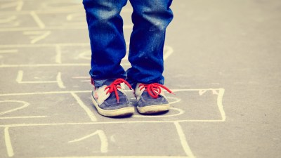 An ADHD child using recess to burn energy so he can focus better.