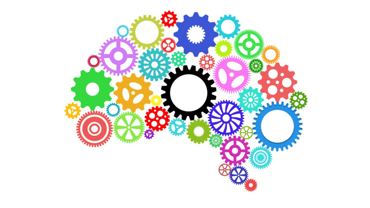 Illustration of colorful gears in arranged in shape of brain, representing ADHD student's way of thinking