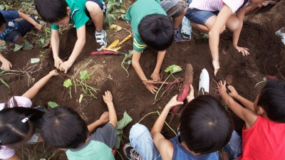 Non-traditional learning at school with ADHD kids working in garden