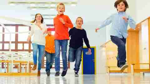 Kids running in the school hallway, a great exercise idea for kids at school