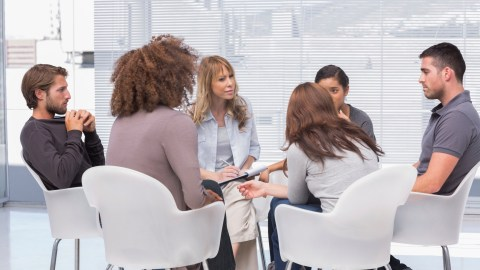 A group therapy session for PTSD, an anxiety disorder