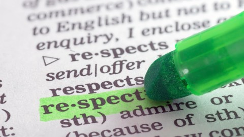 "Highlighting the word ""respect,"" critical for a successful parent-teacher conference"