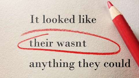 A student's spelling error circled in red pencil. This student could benefit form assistive technology.