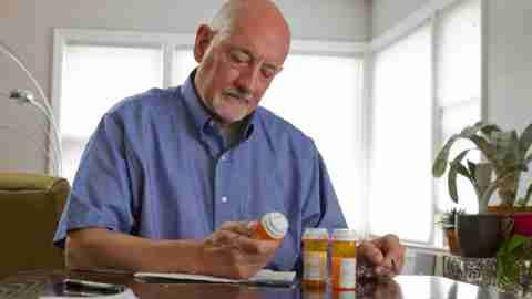 "An older man looks at prescription bottles and wonders, ""How does ADHD medication work?"""