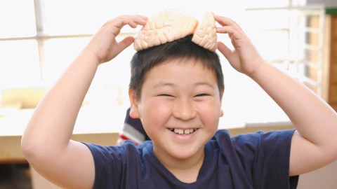 A boy in the science lab at school, smiling happily and experiencing no anxiety
