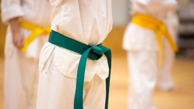 Children with ADHD at tae kwan do class in uniform